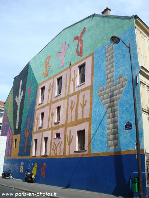 fresque murale rue gassendi paris en photos. Black Bedroom Furniture Sets. Home Design Ideas