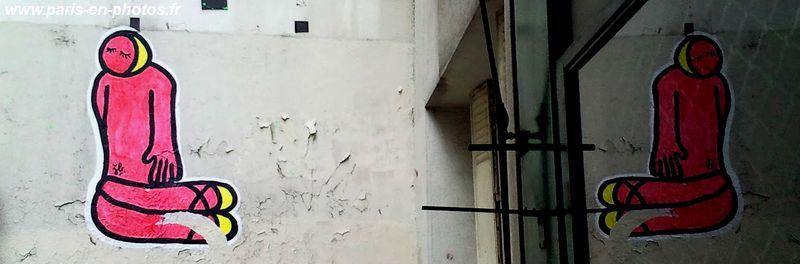 collage street art Dame en rose, rue Montmorency